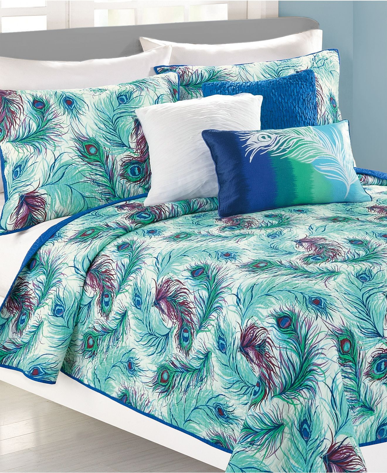 Peacock Bedroom Accessories Nanette Lepore Villa Peacock Coverlet Collection Bedding
