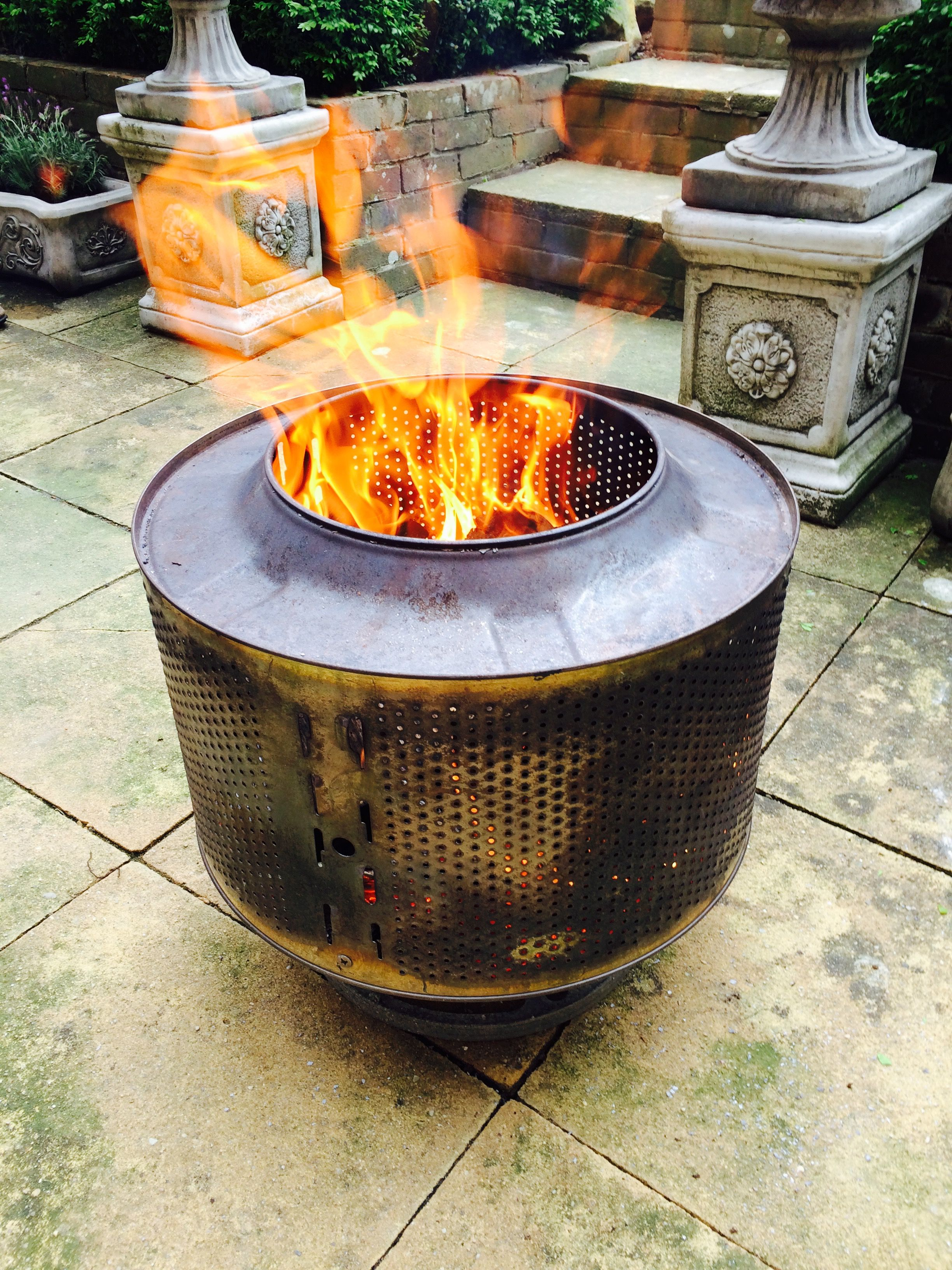 Fire pit made out of washing machine tub. | Fire pit ...