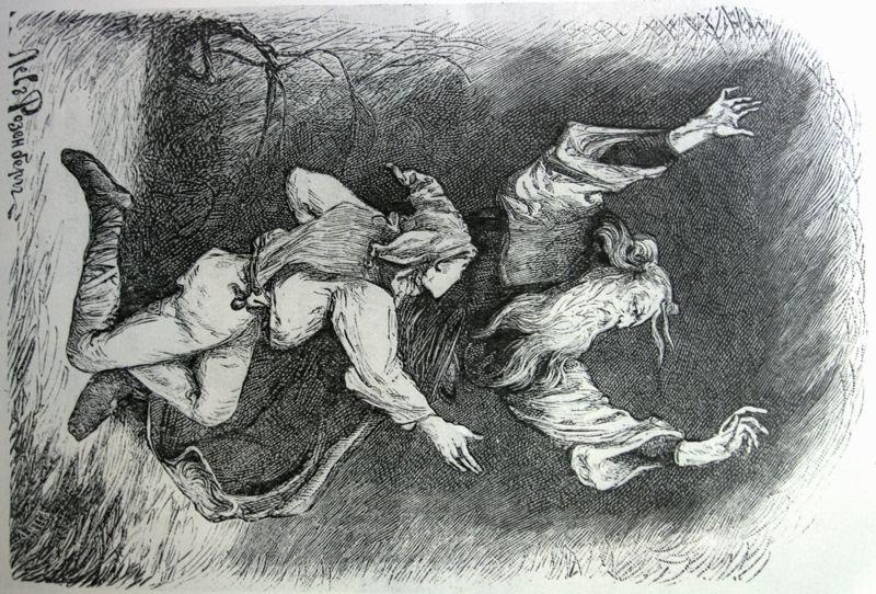 http://cultobzor.ru/2013/07/bakst-gallery/bakst1-5/  Бакст Лев «Лир и шут». Иллюстрация к трагедии В.Шекспира «Король Лир» 1888 г.