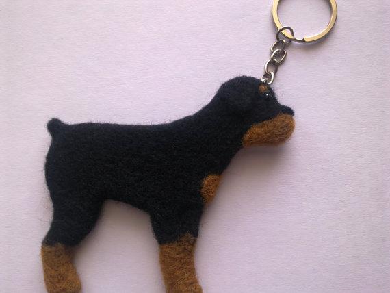 Needle felted key chain Rottweiler Dog key ring by FaithFeltArt ... 601fa0240
