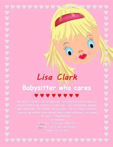 Pink Princess Cute Baby Babysitting Flyer Template  Marketing