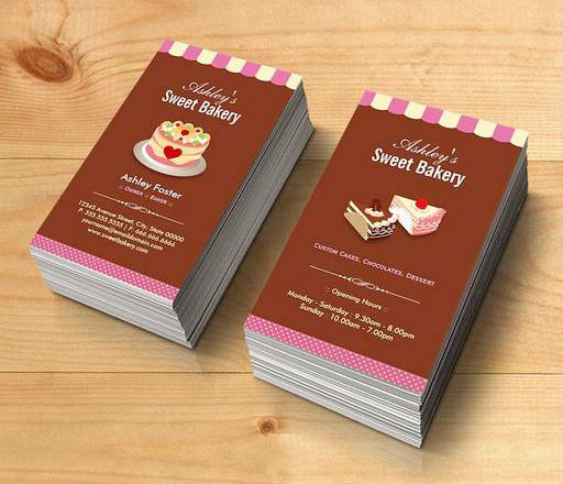 Sweet bakery shop custom cakes chocolates pastry business card sweet bakery shop custom cakes chocolates pastry business card templates this great business card design reheart Image collections
