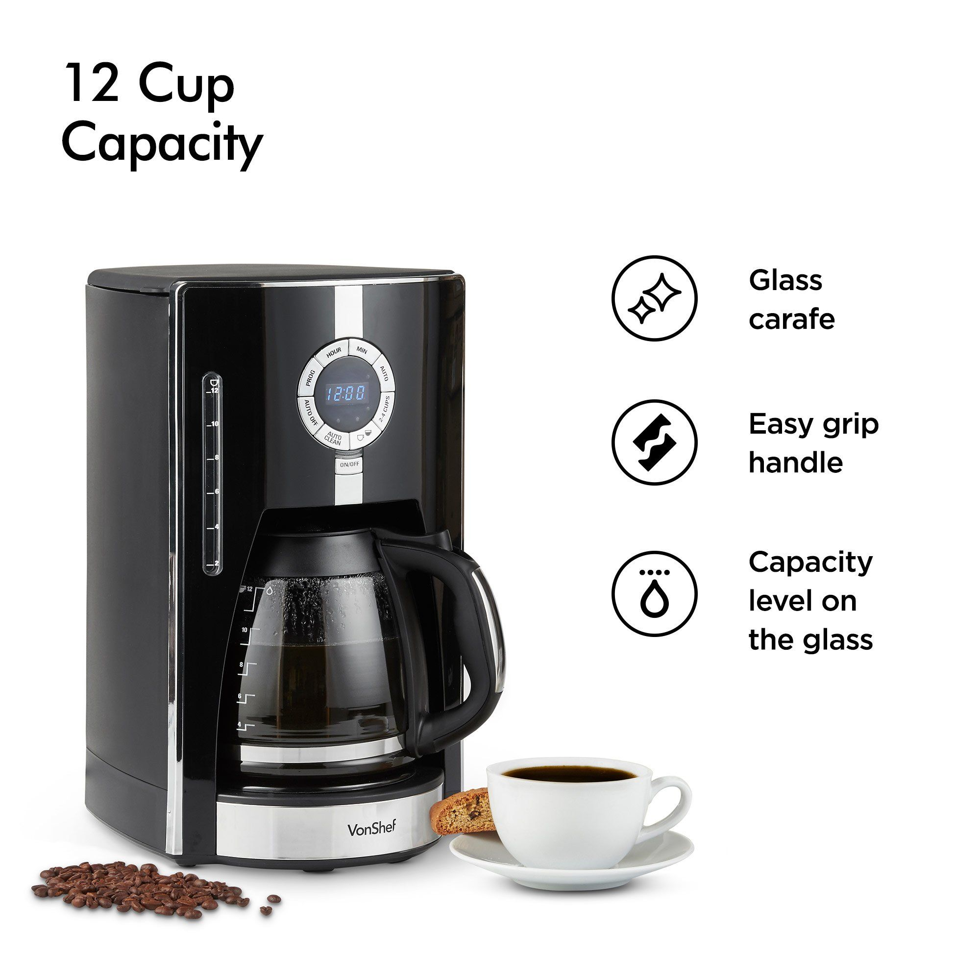 Vonshef Digital Filter Coffee Maker Brewer 12 Cup Machine With Glass Carafe Features Programmable Timer Brew Strength S Coffee Maker Glass Carafe Filter Coffee