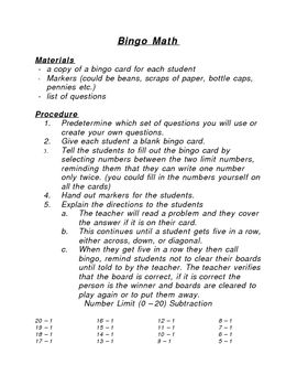 Bingo Math is a game that can be played by whole group or a small group of students.  The students get an opportunity to practice their basic math ...
