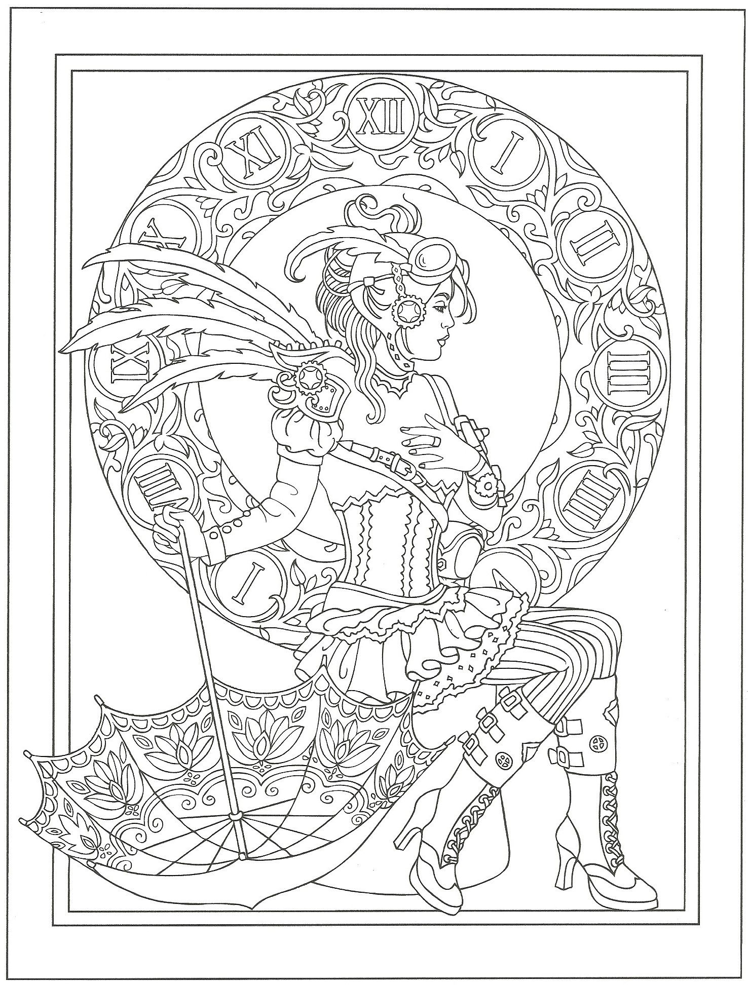 From Creative Haven Steampunk Fashions Coloring