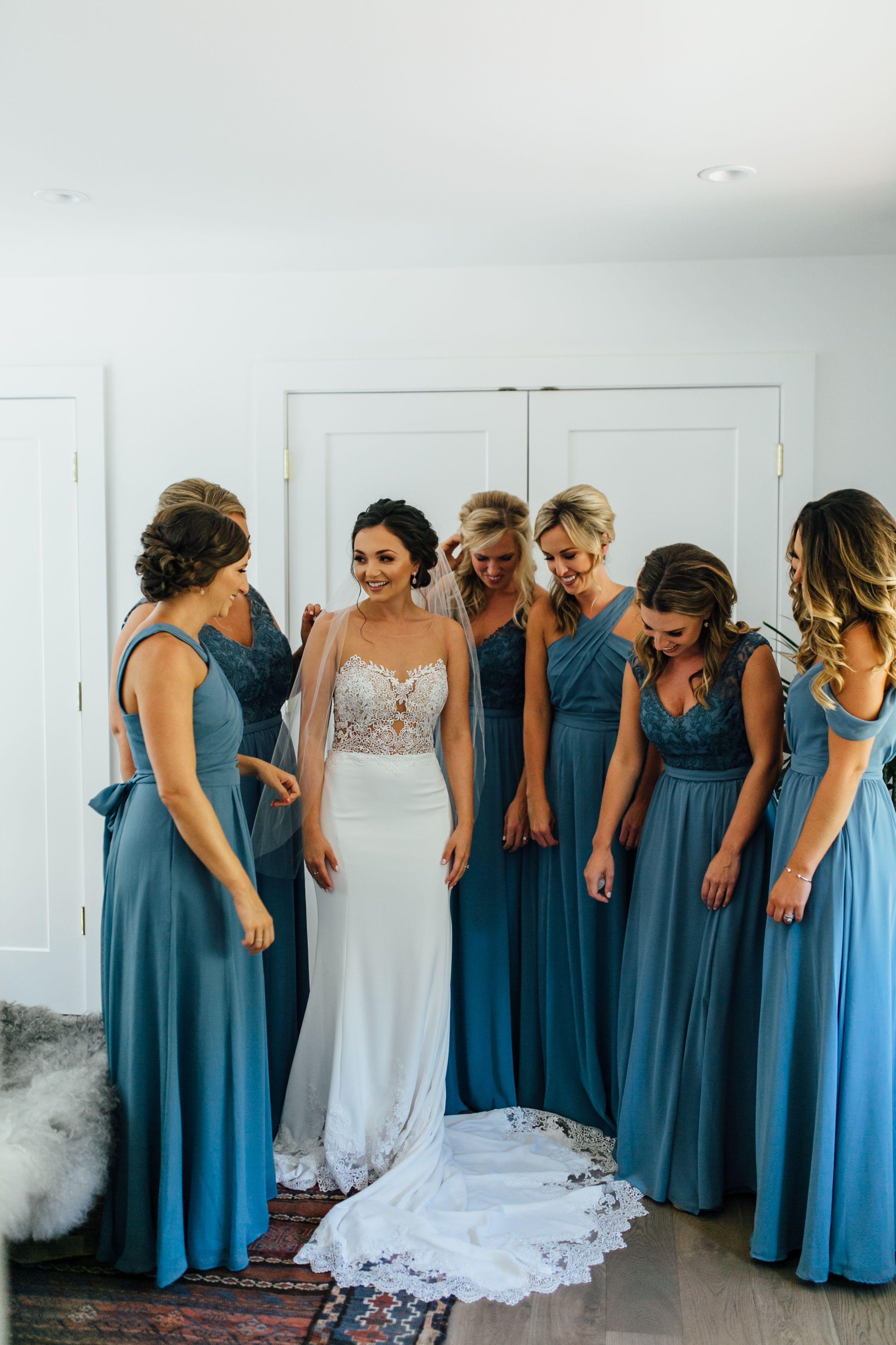 slate blue bridesmaids dresses, dusty