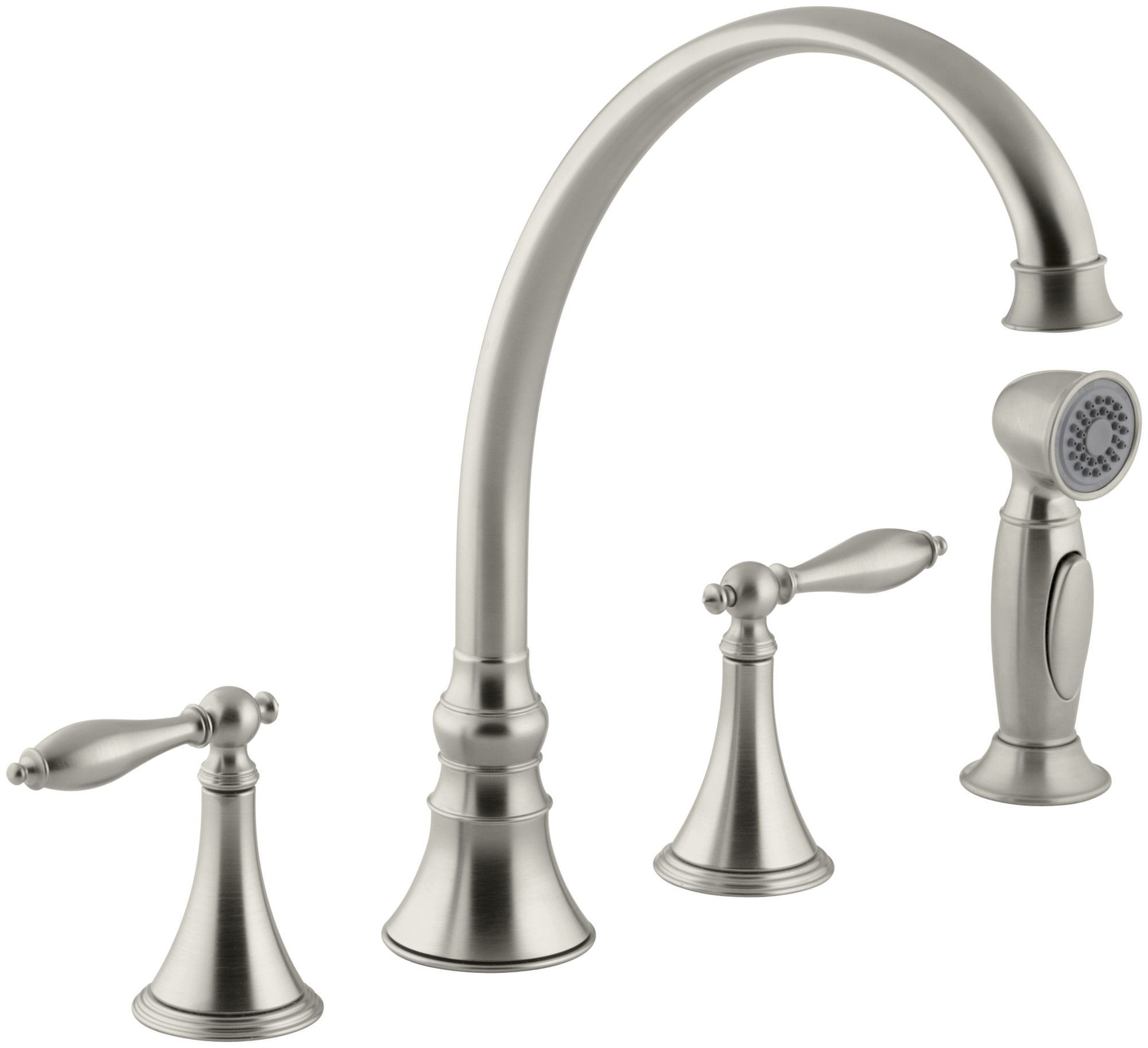 "Finial Traditional 4-Hole Kitchen Sink Faucet with 9-3/16"" Spout, Matching Finish Sidespray and Lever Handles"