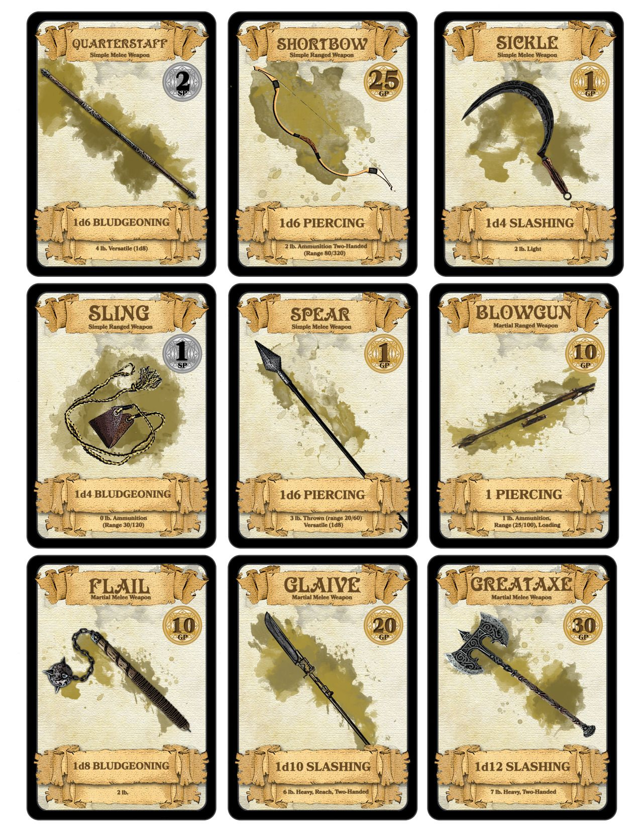Dm Paul Weber Weapon Cards For Geekery Rpg