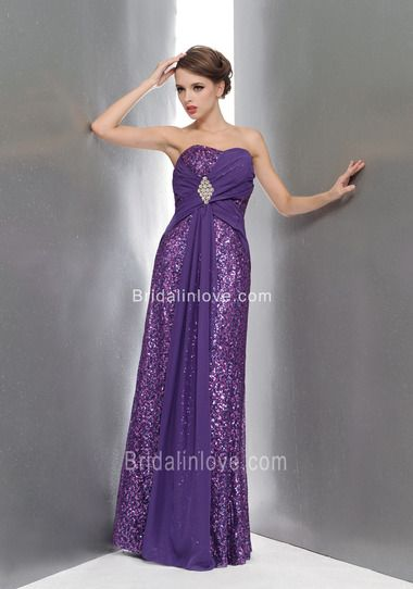 Sheath Luxurious Sweetheart Floor Length Sequined Cloth Purple Prom Dress
