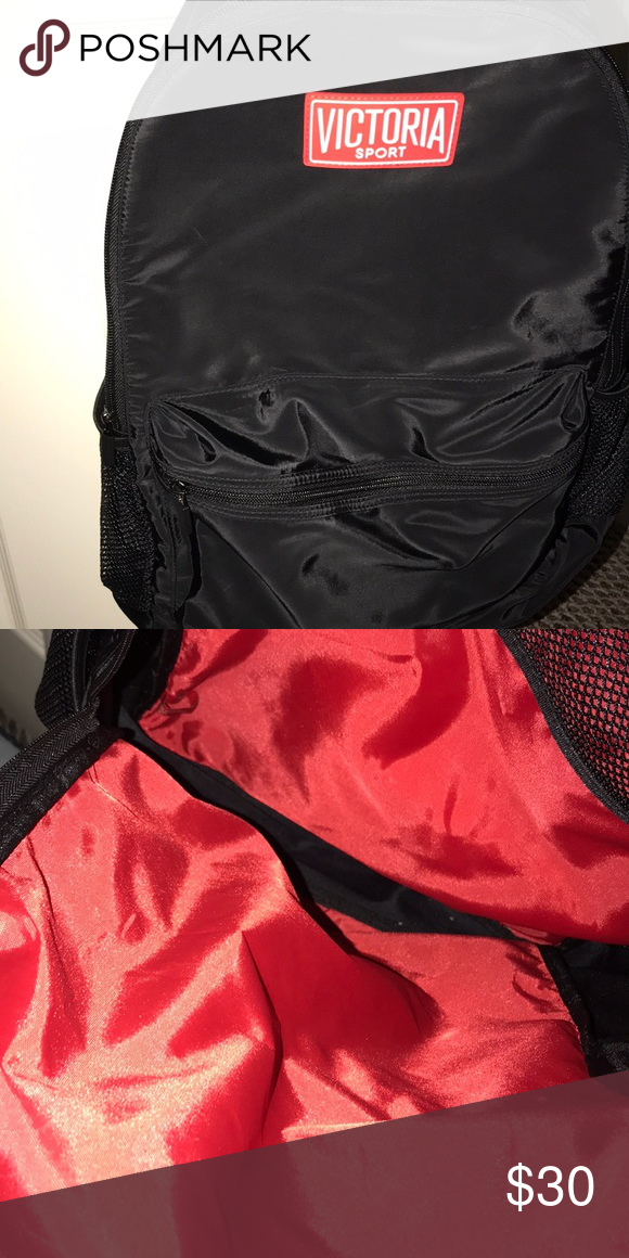 6a3bd2885e31d Victorias Secret Sport Backpack Black with red on the inside ...