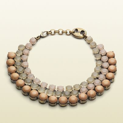 Gucci Beaded necklace with dark powder and smoky rose beads