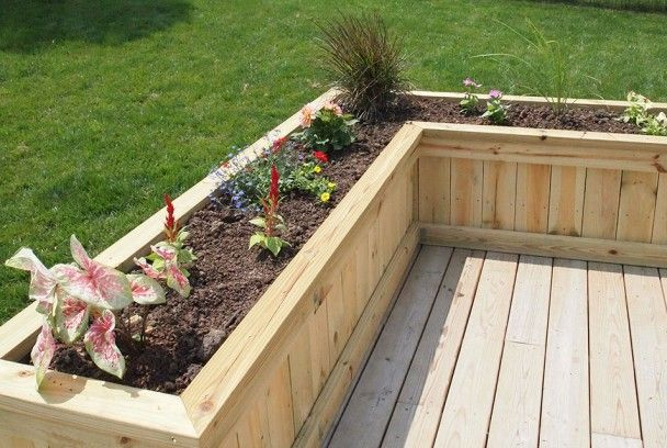 built in deck planters Deck PlanterFlower Box Sawdust Therapy