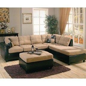 Brown Faux Leather Base Harlow Tan Microfiber Sectional Sofa ...