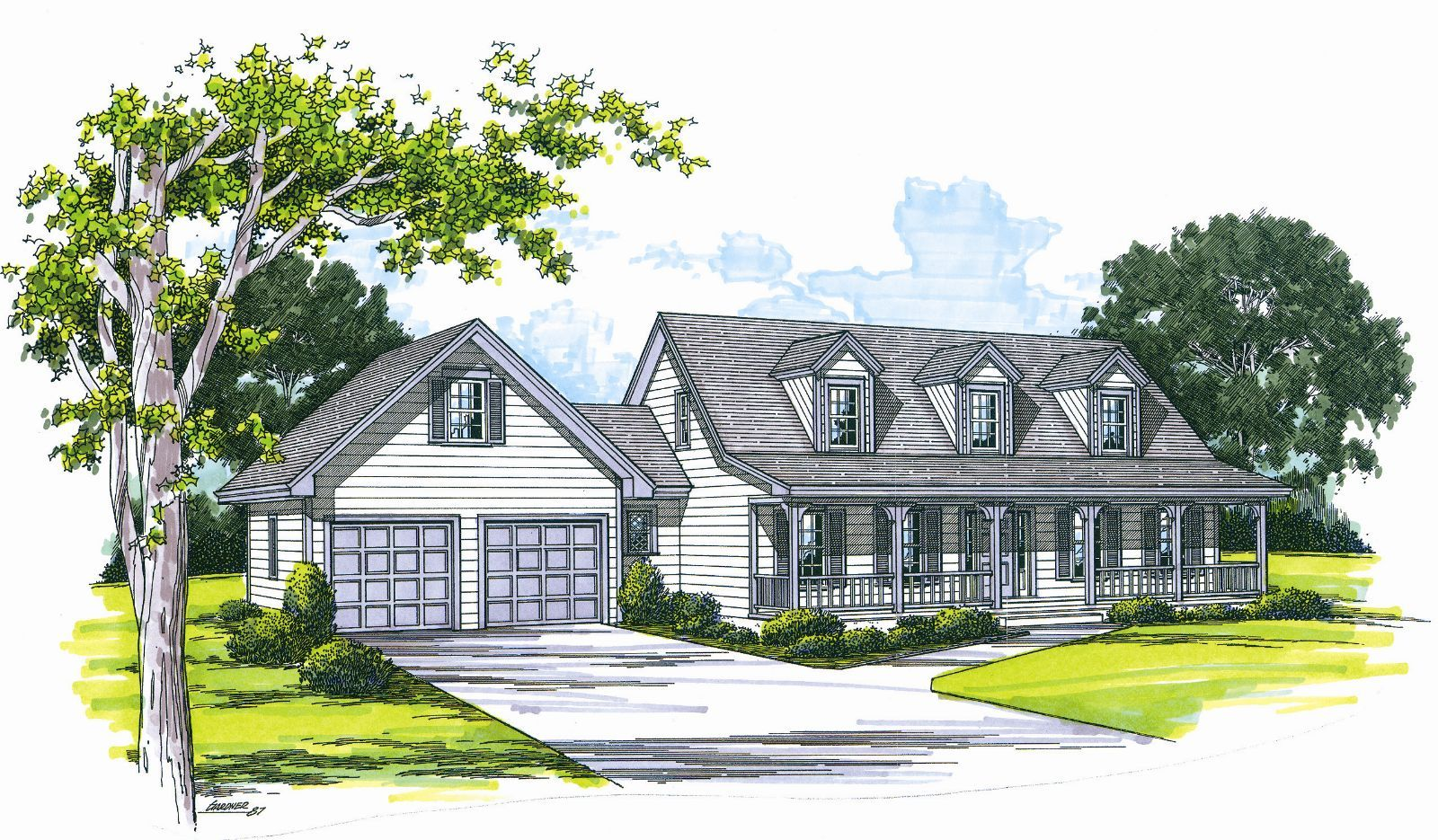 This 1 5 story cape cod features 3386 sq feet call us at for Single story cape cod house plans