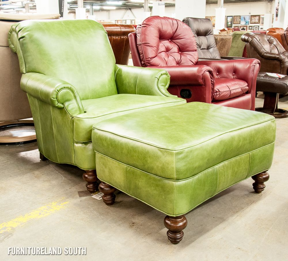 Attractive CLAYTON MARCUS/ROWE   LIME GREEN LEATHER ARM CHAIR AND OTTOMAN SET