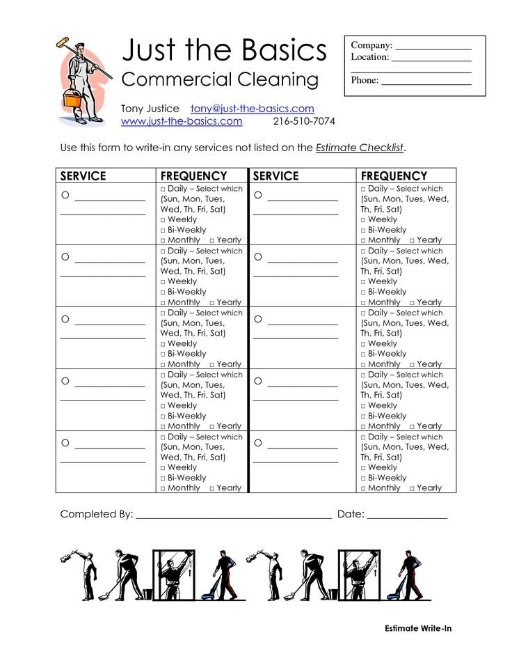 Commercial Cleaning Checklist Printable (With images