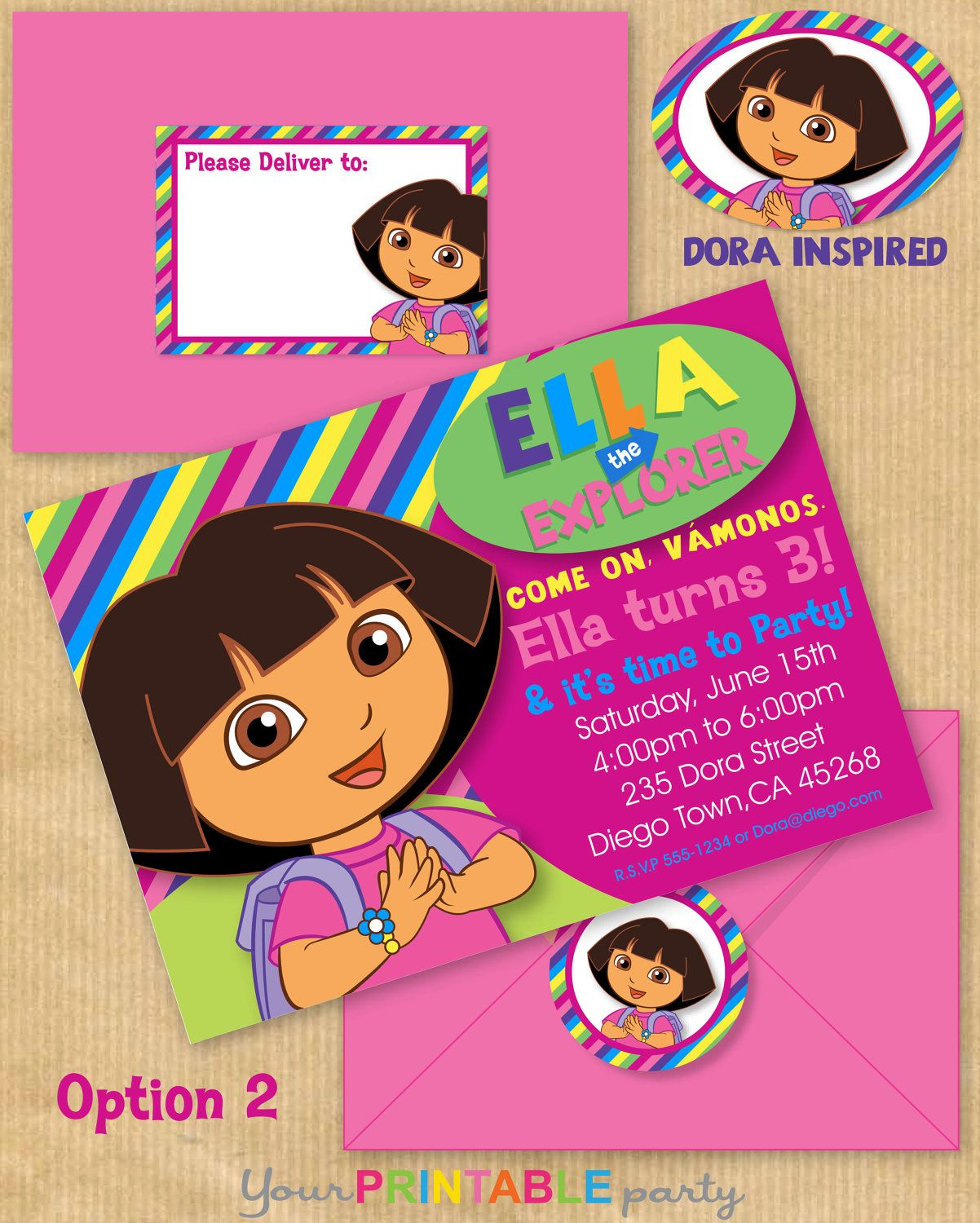 New DORA the Explorer Inspired Deluxe Birthday Party Invitation 5x7 ...