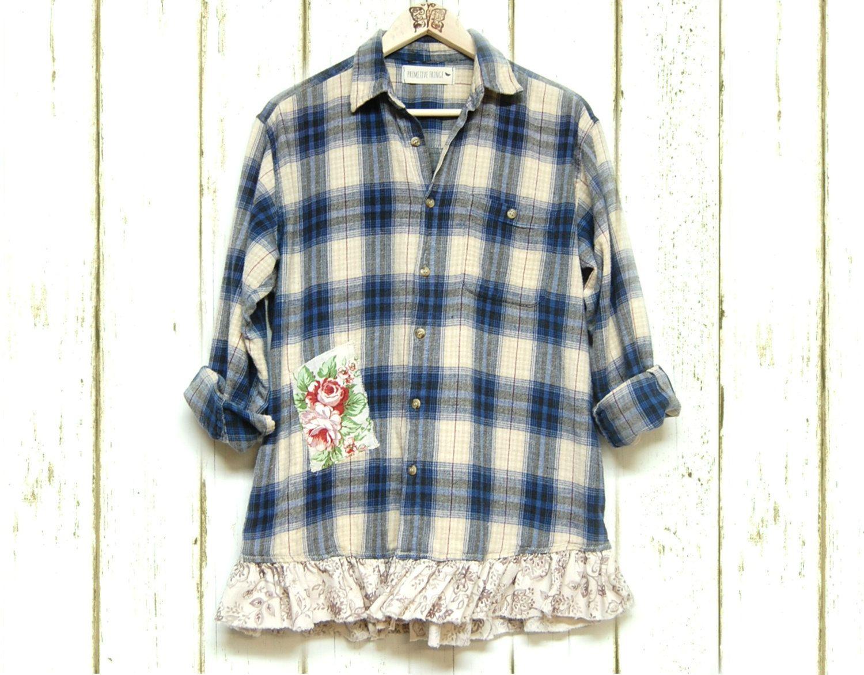 Dress up flannel shirt  Plus Sized Flannel Shirt Shabby Boho Chic Plaid Gussied Up Menus