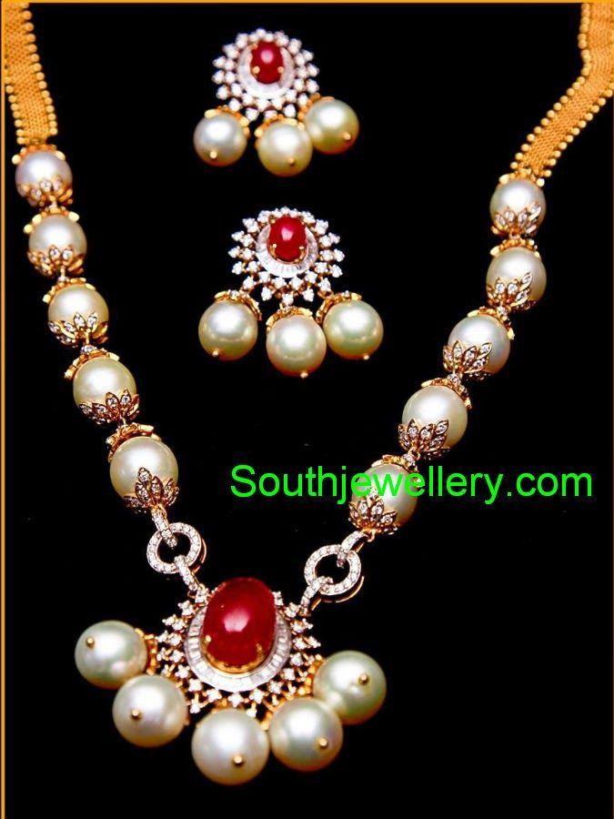 Image result for indian pearl necklace pearl diamond glitteratti