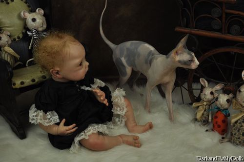 Reborn vampire baby with ChickenKitty the Sphynx cat. =^_^=