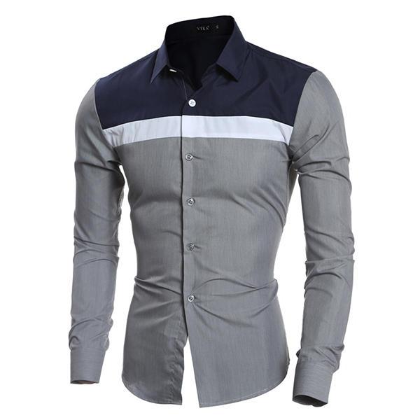 bdd9515f35 Mens Fashion Striped Printing Patchwork Color Casual Slim Fit Stitching  Designer Shirts