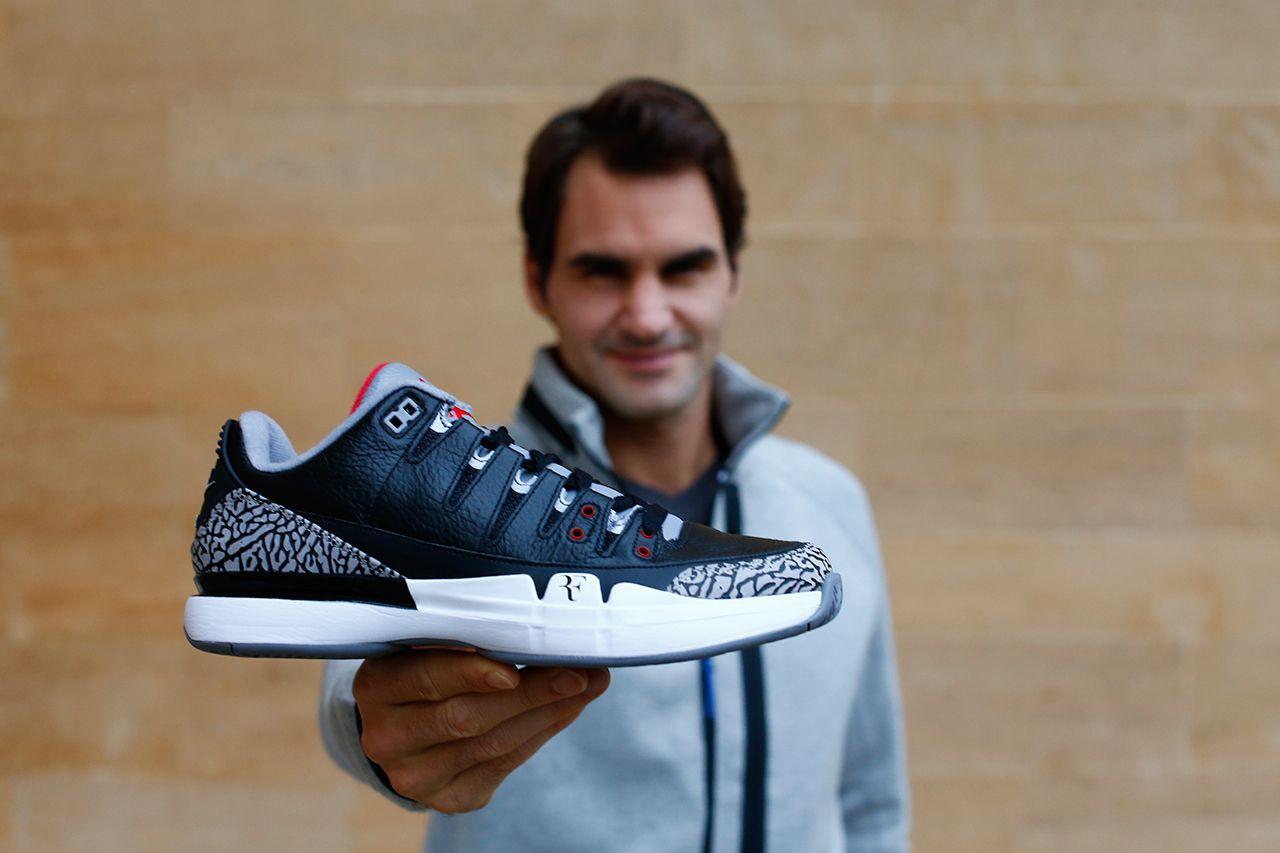 """eacafc316abba hypebeast  """"Roger Federer s NikeCourt Zoom Vapor AJ3 """"Black Cement ..."""
