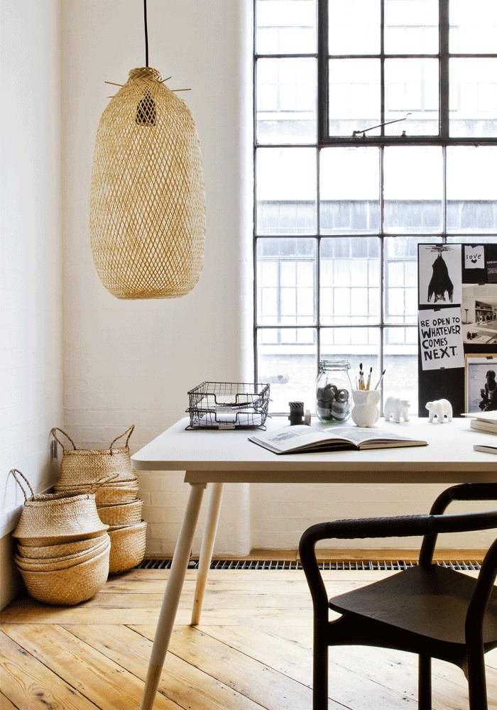 Bamboo pendant lights inspired by Thai Fish Traps from Bodie and Fou. | Home office