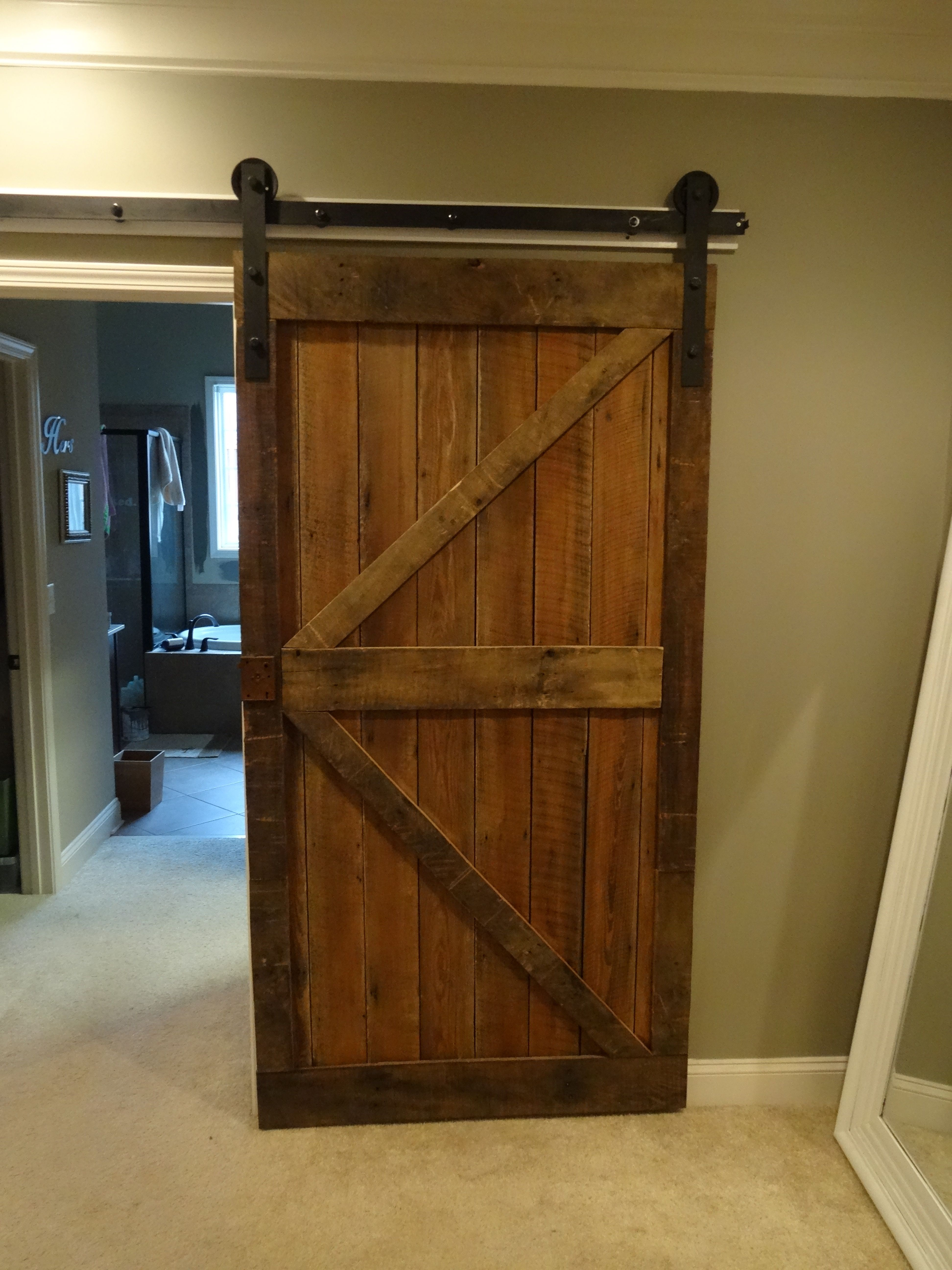 Fascinating barn wood sliding single rustic doors for for Barn door design ideas