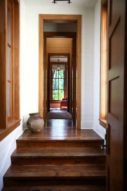 Henry Island Rustic Hall Seattle By Bosworth Hoedemaker Dark Wood Trim White Baseboards Floor Trim