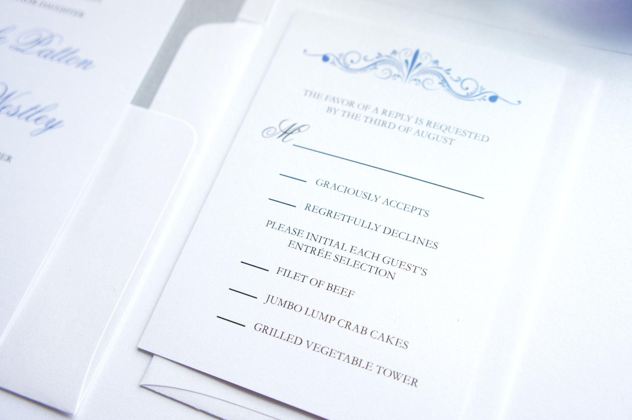 Blue Wedding Invitation - Elegant Wedding Invitation, Simple ...