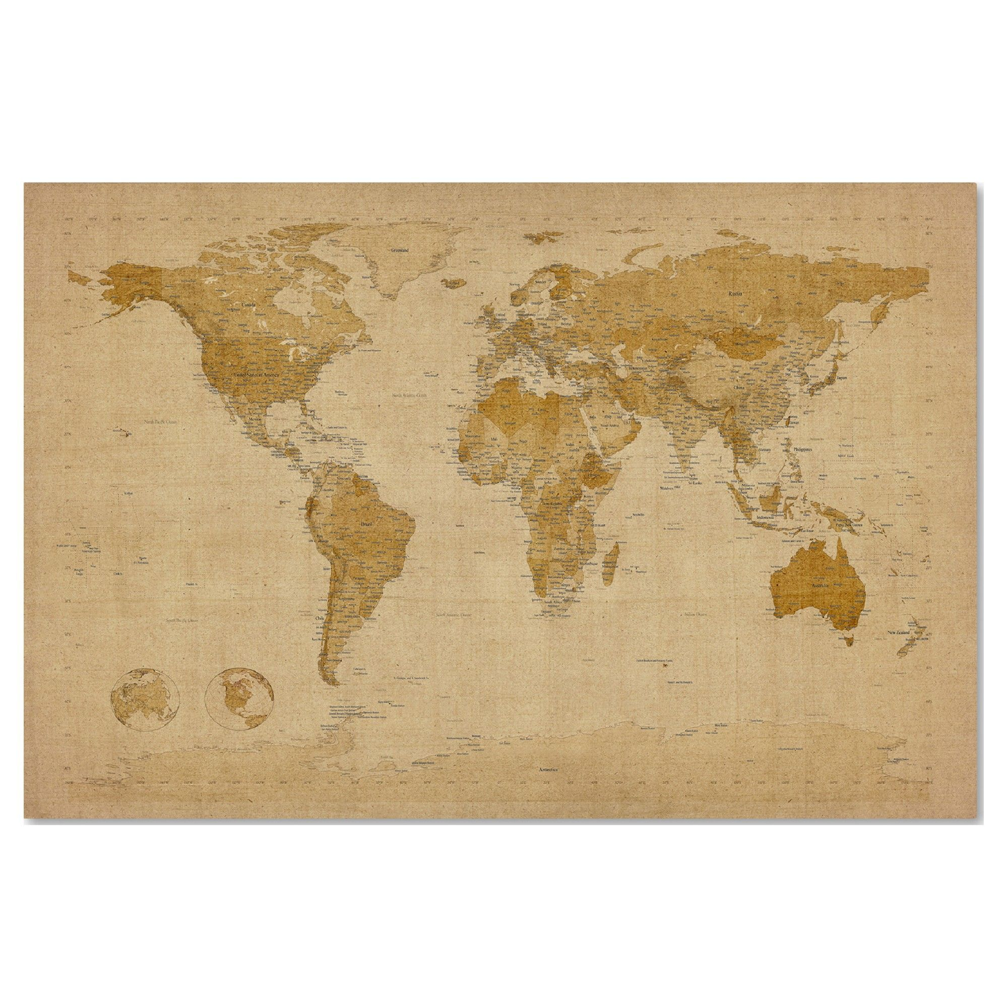 Antique World Map\' by Michael Tompsett Ready to Hang Canvas Wall Art ...