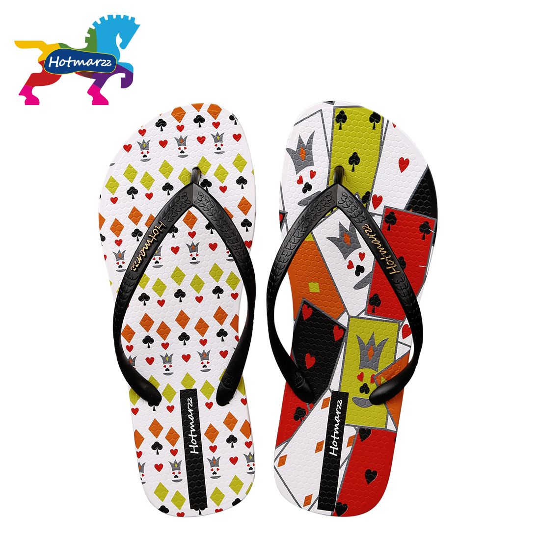 d7380fa45c4f Hotmarzz Women Stylish Poker Print Flat Flip Flops Beach Slippers Shoes  Ladies Home House Summer Thong Sandals Wedding Flip-flop