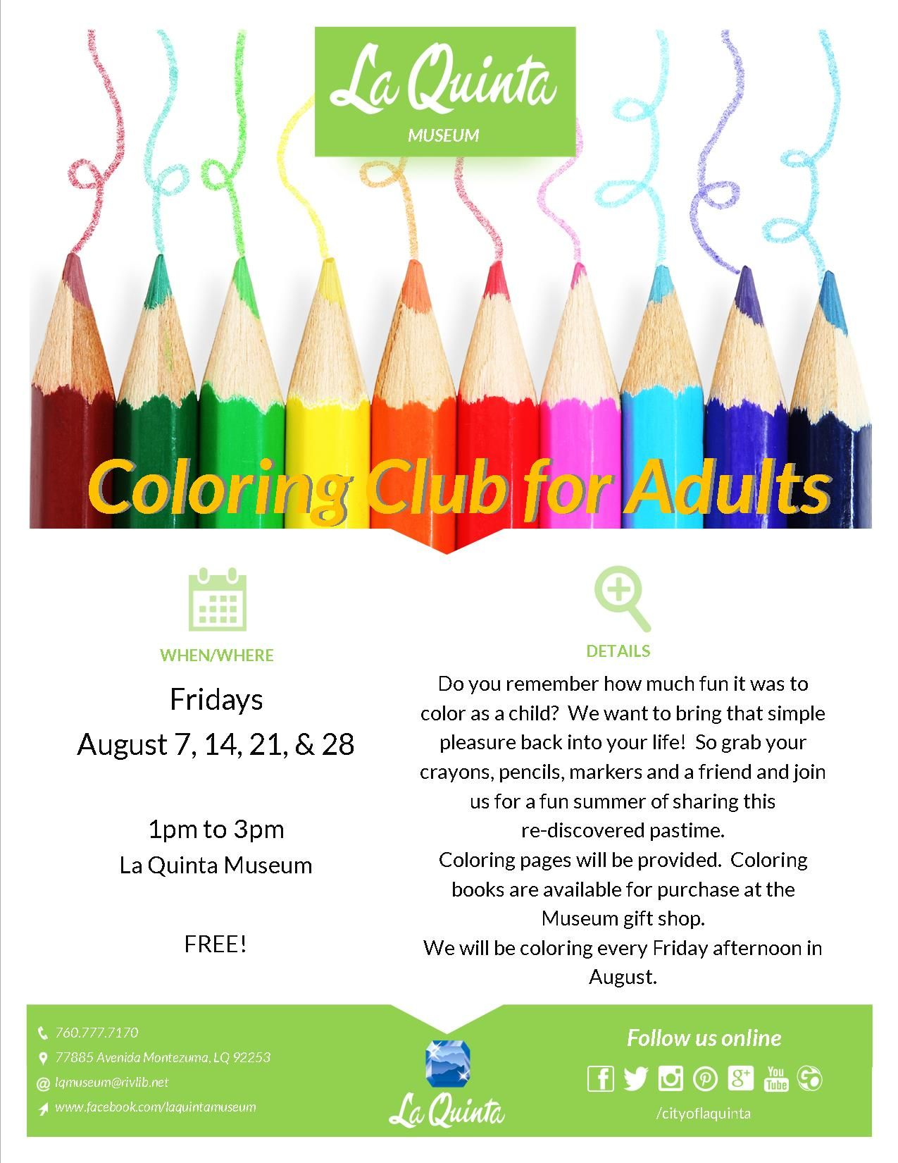 Pin By La Quinta Museum On Coloring Club For Adults