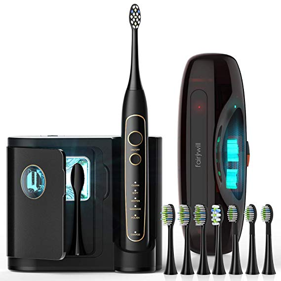 Fairywill Pro Sonic Electric Toothbrush With Uv Sanitizer Ultraviolet Sanitizing And Ch In 2020 Sonic Electric Toothbrush Brushing Teeth Electric Toothbrush