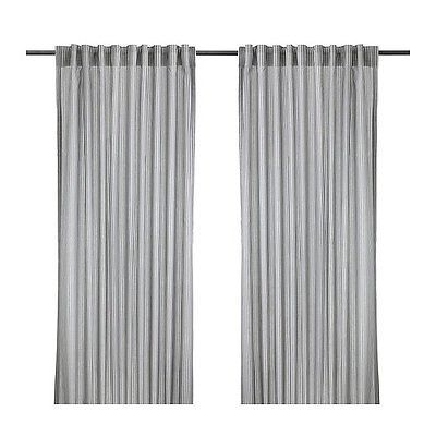 details zu ikea gulsporre gardinenpaar in weiß und grau 145x300cm