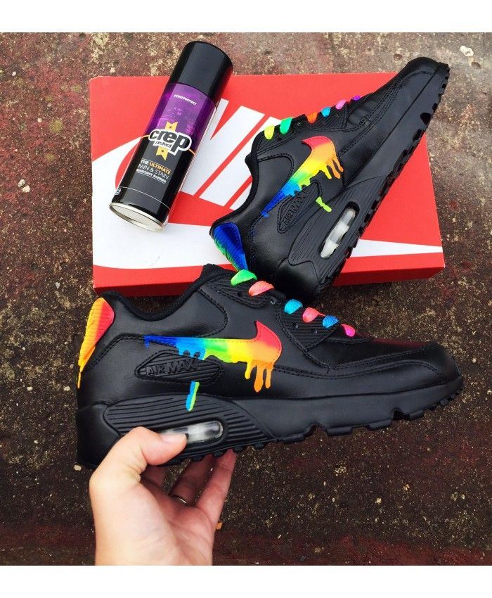 pretty nice d1fbc 68631 Nike Air Max 90 Candy Drip Trainers In Rainbow Black
