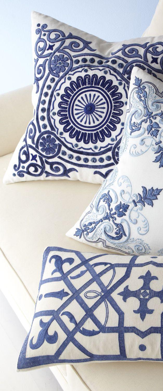 blue circular medallion pillows  coastal decor  living room  - blue circular medallion pillows  coastal decor