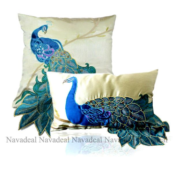 2x Art 3D Blue Peacock Satin DecorativeThrow Lumber Pillowcase Cushion Covers