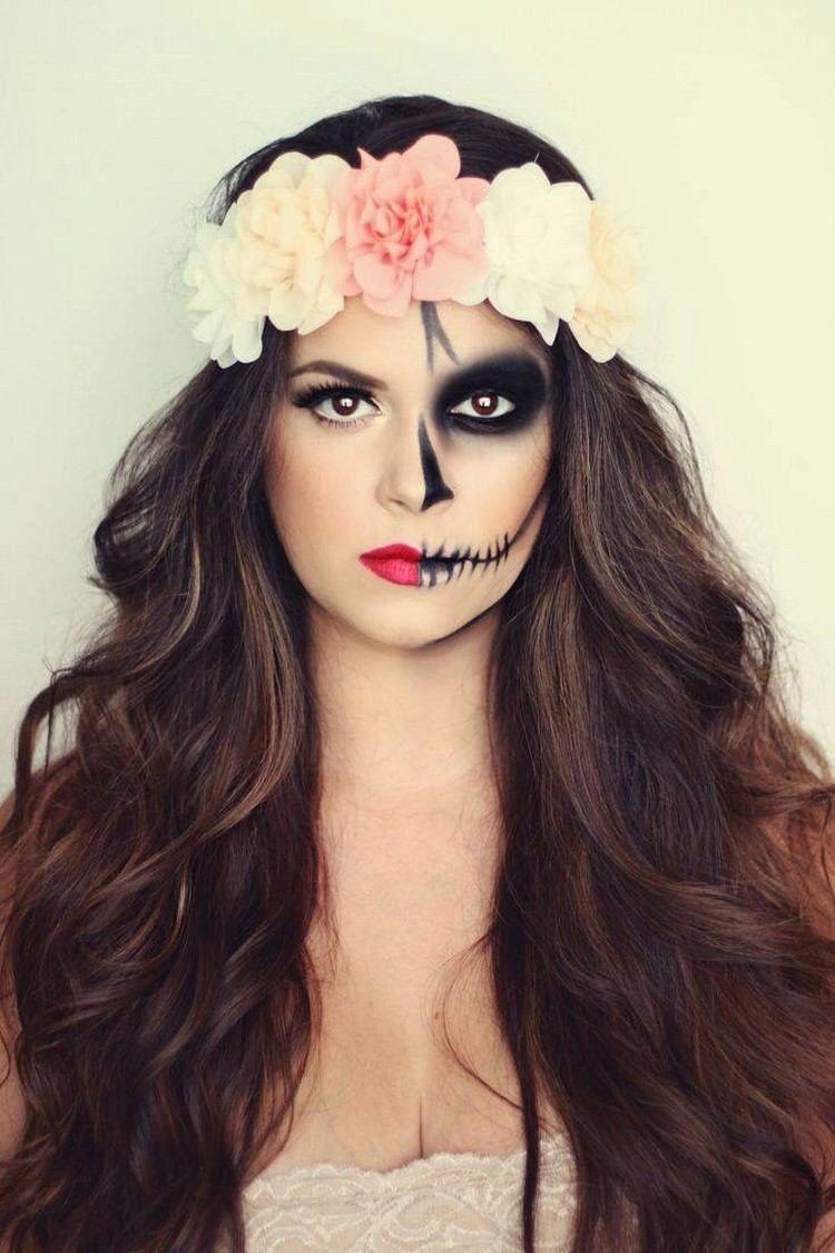 maquillage Halloween avec dessin de grillage barbelé et couronne en fleurs  pour les cheveux long