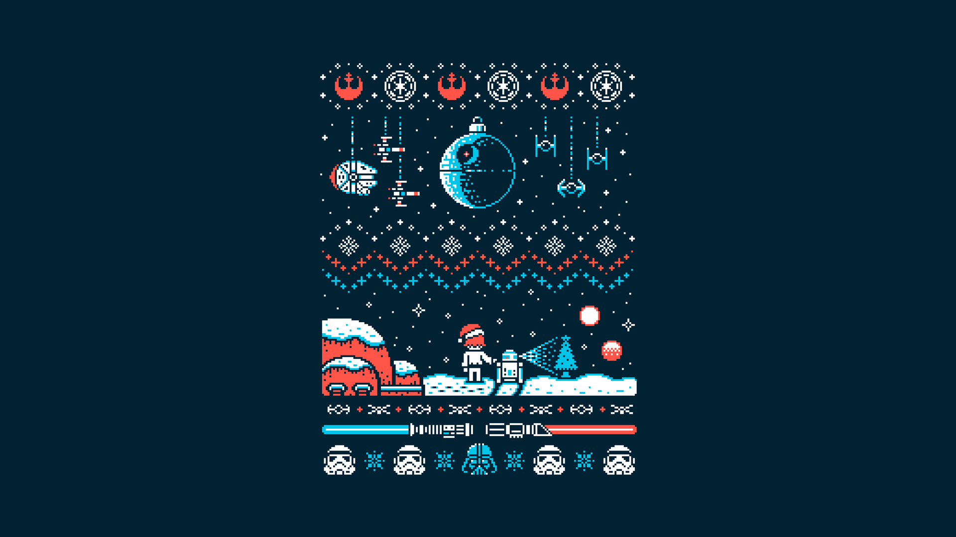 1920x1080 Turned This Star Wars Christmas Sweater Design Into A Wallpaper R Wallpap Star Wars Christmas Sweater Star Wars Christmas Funny Christmas Shirts