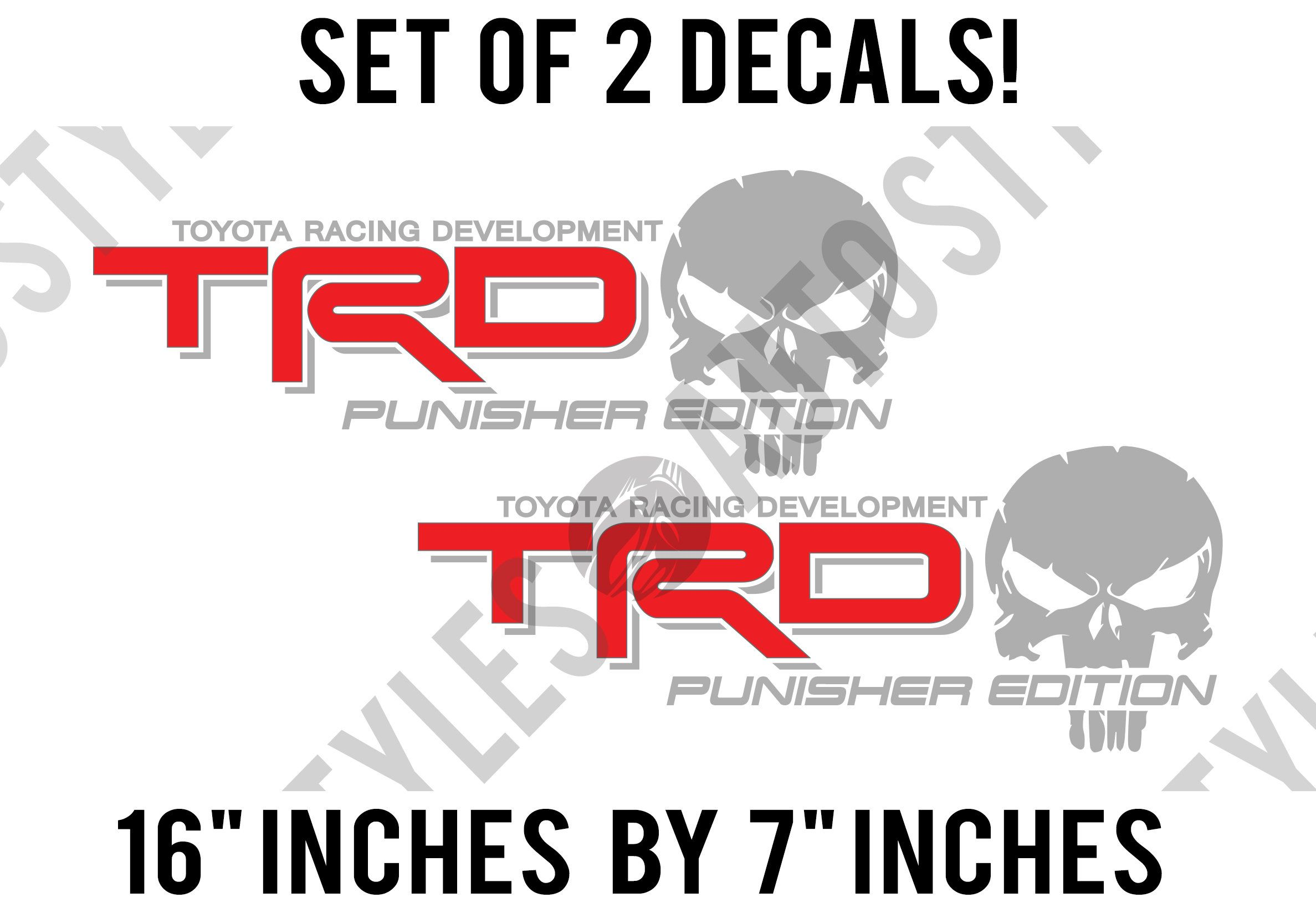 Punisher Edition Skull Toyota TRD fits Tacoma Tundra PAIR of Sticker Decals
