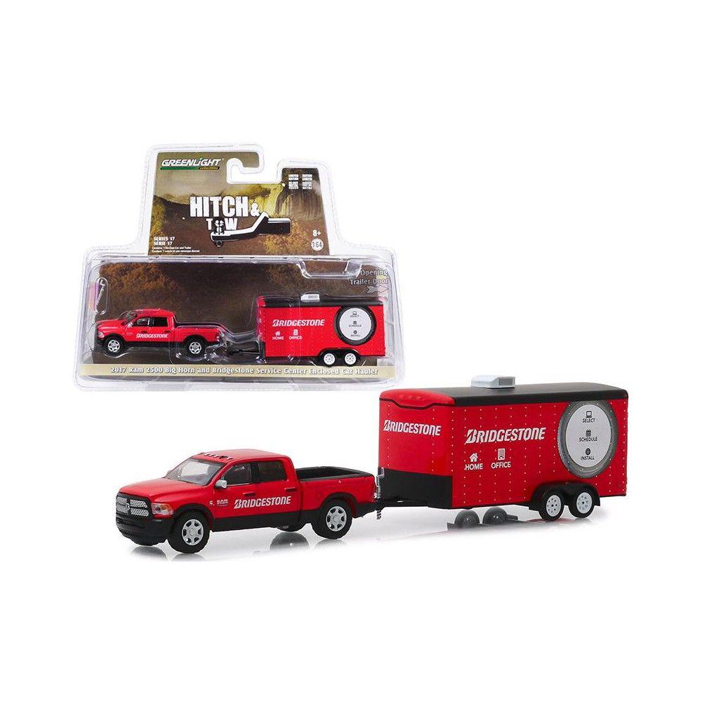 2017 Ram 2500 Big Horn Pickup Truck And Enclosed Car Hauler Bridgestone Red 1 64 Diecast Model Car By Greenlight In 2021 Pickup Trucks Diecast Model Cars Enclosed Car Hauler