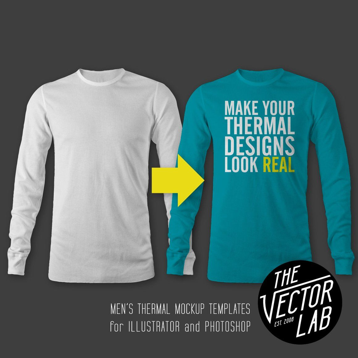 Men\'s Thermal Long Sleeve Shirt Mockup Templates Photoshop and ...