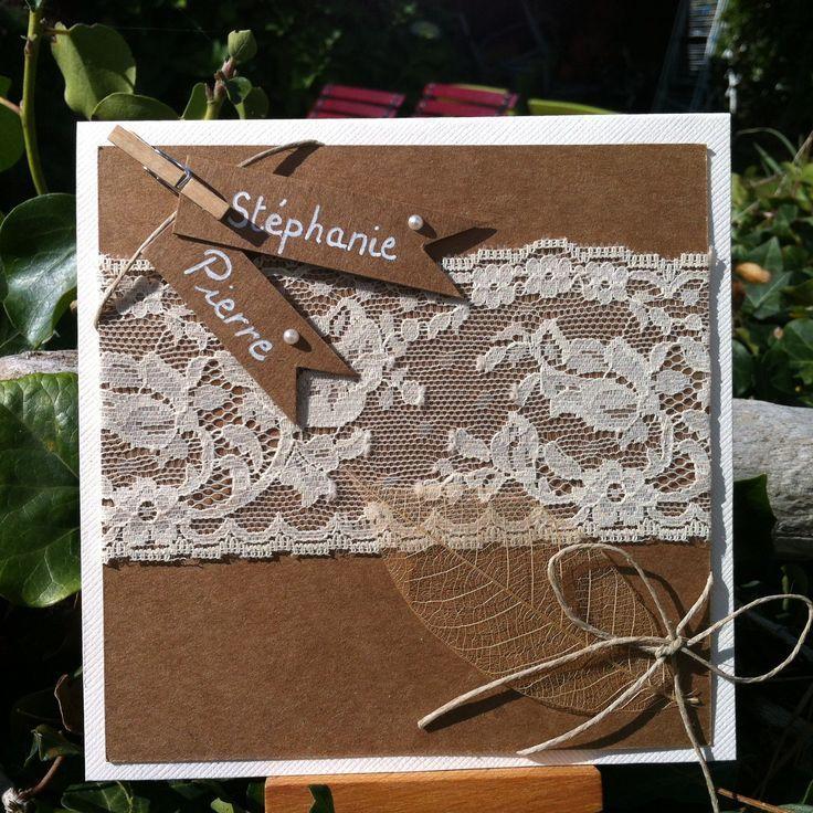 Faire-part de mariage champêtre romantique en kraft et dentelle et sa feuille séchée : Faire-part par mon-faire-part-est-unique – Louisa Robard
