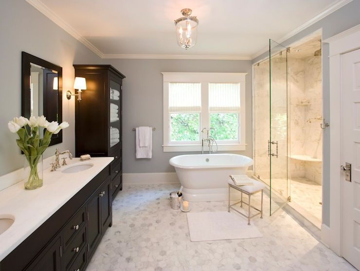 sallyl clawson architects elegant bathroom design with blue gray walls and carrara marble. beautiful ideas. Home Design Ideas