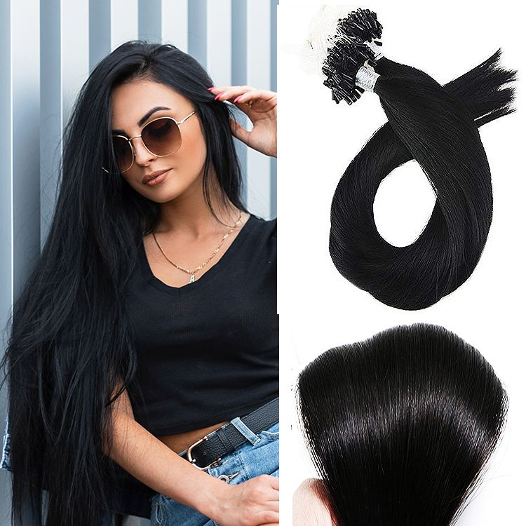 Color 1 JET BLACK Micro Loop Hair Extensions 50 grams/Qty