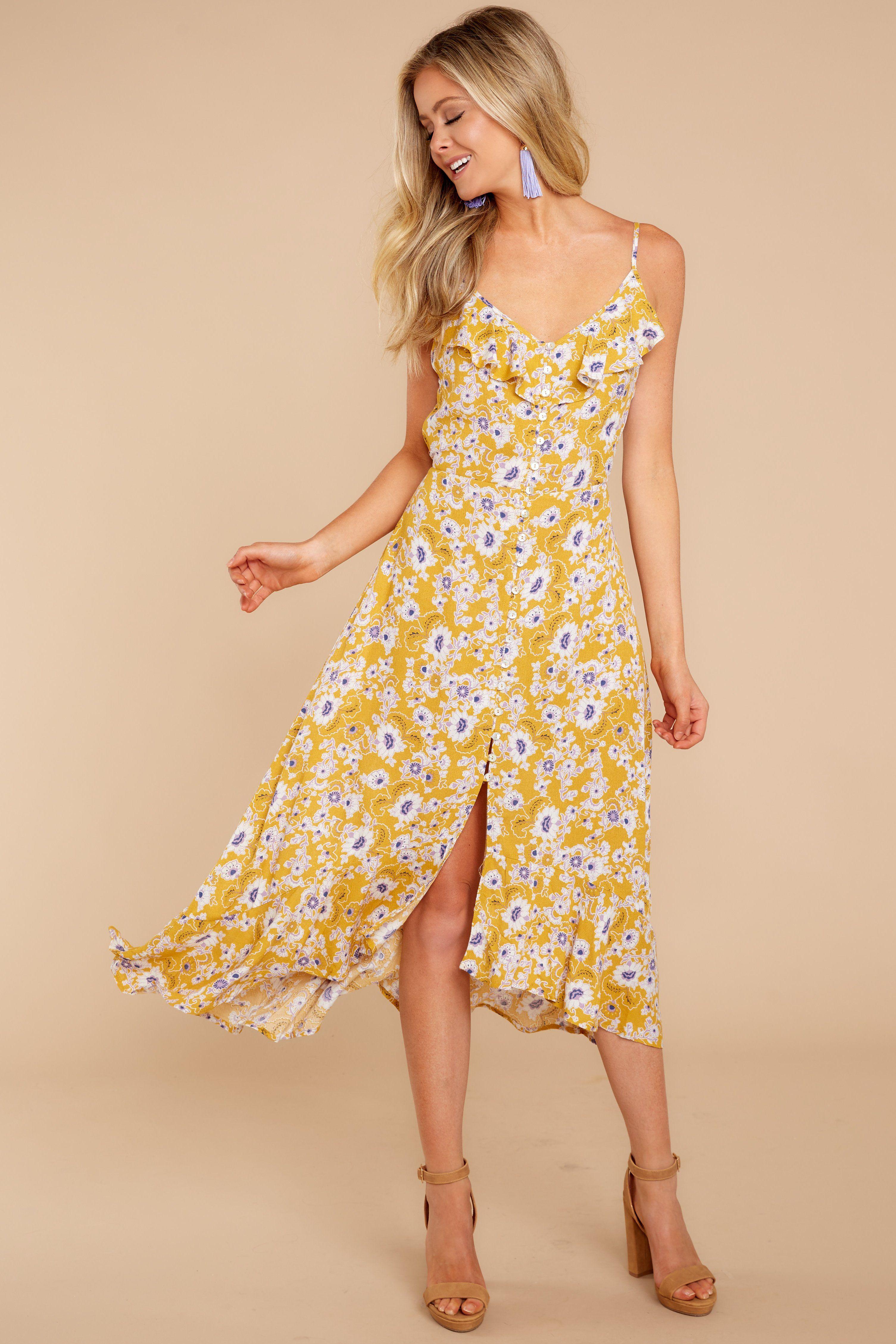 638d55e58a46 Pretty Yellow Maxi Dress - Floral Print Maxi Dress - Maxi - $46.00 – Red  Dress Boutique