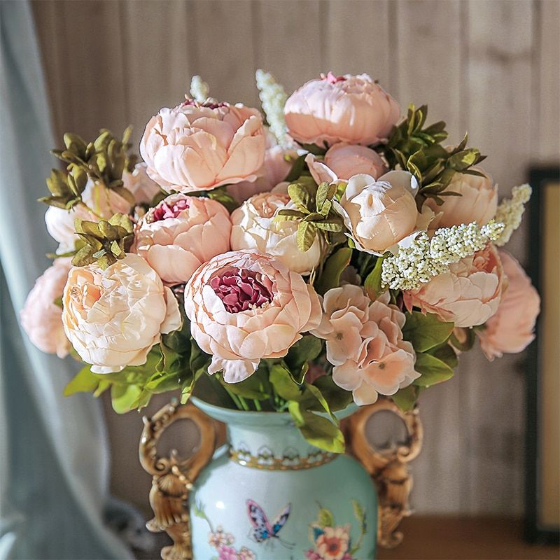 13 Branches Small Fresh Artificial Silk Peony Bouquets Big Flowers For Wedding Party Office Hotel And Home Decoration Chencheng Silk Peonies Bouquet Peonies Bouquet Diy Wedding Flowers