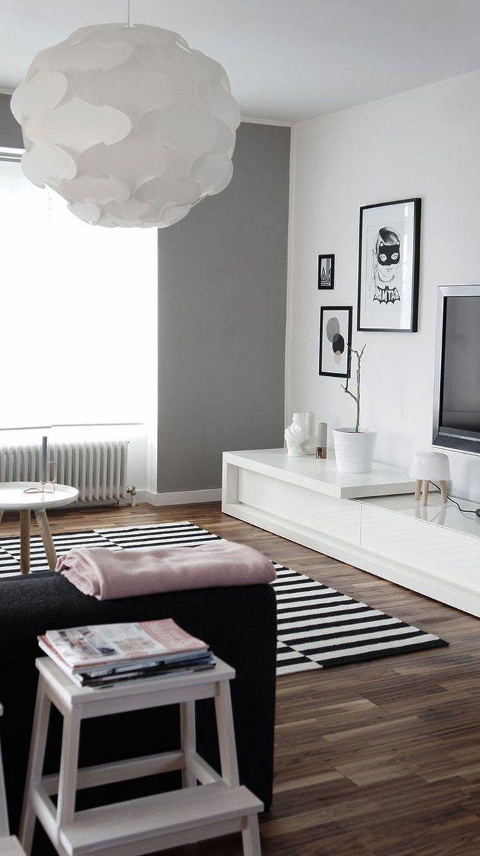 Les Meubles Scandinaves Beaucoup D Idees En Photos Salon Noir Et Blanc Salon Blanc Mobilier De Salon