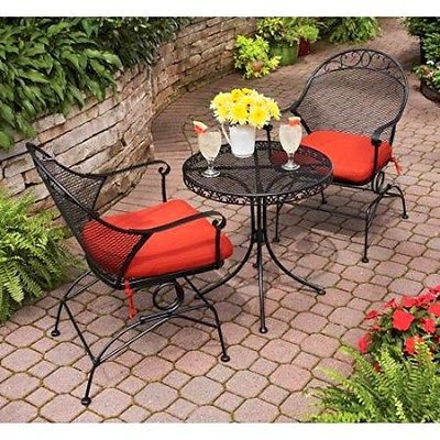Outdoor Lounge Chair Patio Furniture Set Bistro Table Wrought Iron